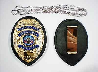 GOLD ENGRAVED Concealed Weapons Permit Metal Badge + CLIP HOLDER + NECK CHAIN