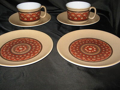 Two Lord Nelson Pottery Maracanda pattern 1970s trios cups saucers & tea plates