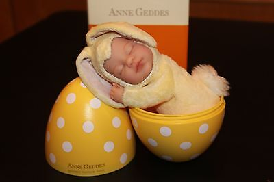 Rare- Polka Dot Egg - Anne Geddes - Yellow Bunny 9 in. Baby Doll Plush -2007 NIB