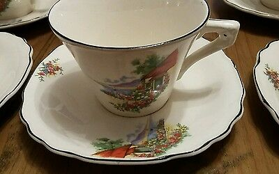Myott tea set with 6 cups and saucers, jug and bowl.