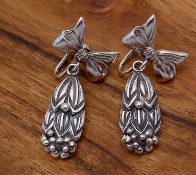 Vintage Taxco Mexican Sterling Silver Cornflower Bow Dangle Earrings 22744