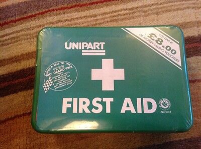 vintage sealed Unipart First Aid box. circa 1992.