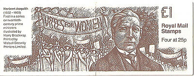Great Britain. £1 stamp  booklet 1994 FH32 Herbert Asquith