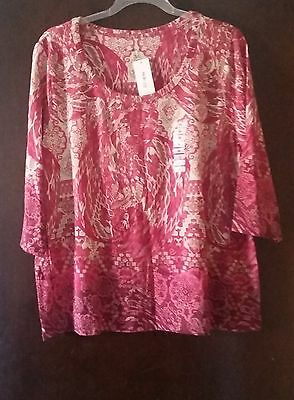Style&co. NWT Womens Plus 3X 3/4 Sleeve Blouse Ladies Casual Tops Loose Shirt