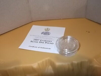 Guernsey £1.00 Proof Coin 1997 Silver Wedding Queen And Prince Philip