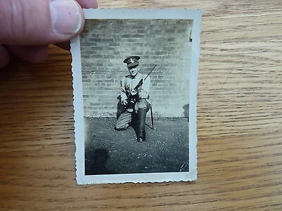 """1930s ORIGINAL PHOTO SOLDIER WITH RIFLE ROYAL WEST KENT? 3.5 X 2.5"""""""