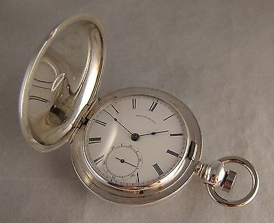 147 YEARS OLD WALTHAM SOLID SILVER HUNTER CASE SIZE 18s KW & KS POCKET WATCH