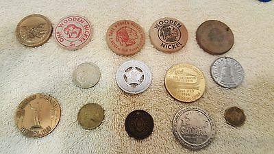 Vintage to Modern Lot of 14 Tokens-Wooden Nickels