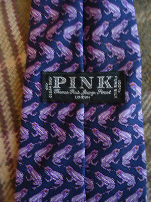 Vintage Thomas PINK Jermyn St. Silk Tie Navy with Purple Frogs - Made in England