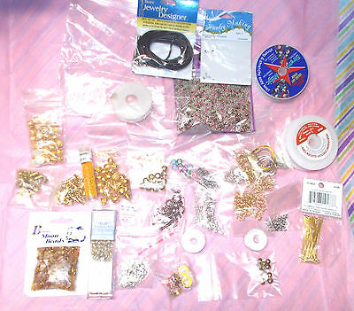 Beads assortment lot mixed findings lobster claws seed beads gold tones clasps