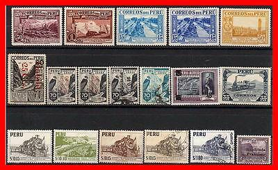 PERU = TRAINS RELATED x18 STAMPS (MNH/MLH/USED) (K-J18)