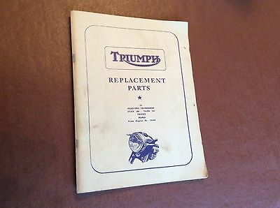 TRIUMPH replacement PARTS Manual,Speed Twin,Thunderbird,Tiger 100,Trophy.