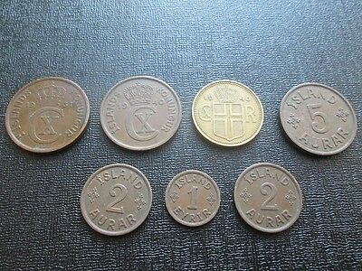 Lot of 7 x Iceland Coins 1931-1940
