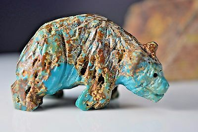 Authentic Navajo Native American Indian carved Easter Blue Turquoise Bear Fetish