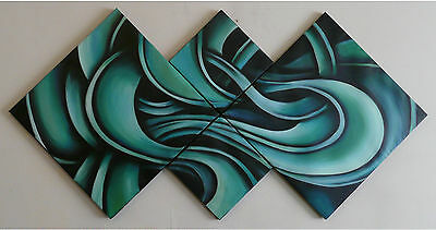 """Hand Painted Oil Painting Canvas Modern Abstract Wall Blue Aqua Swirl /""""FRAMED"""""""