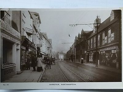 Northampton Marefair Shops people cart b/w real photo postcard