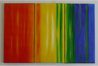 """Hand Made Oil Painting Canvas Modern Abstract  Multi Stripe Art """"FRAMED"""""""