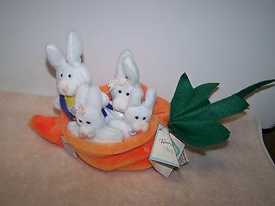 Vintage Applause Touch Of Spring The Montgomerys Plush Bunny Rabbits In Carrot