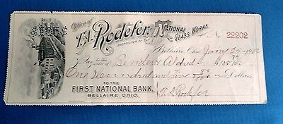 Vintage Antique 1902 T.A. Rodefer National Glass Check First National bank Ohio