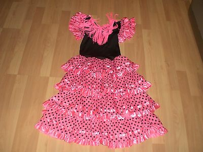 Girls Flamenco Fancy Dress Costume Spanish Dancer Outfit Black Pink Age 10years