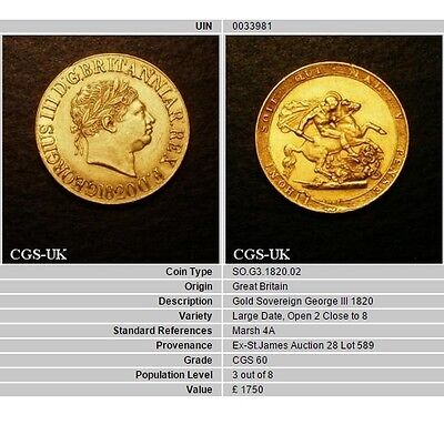 1820 EF George III Gold Sovereign Open 2 Type CGS 60. ☆☆☆ Price Reduced ☆☆☆