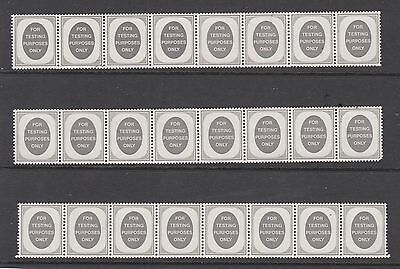 GB FOR TESTING PURPOSES ONLY STRIPS OF 8 STAMPS UNUSED MINT  .Rfno.1.