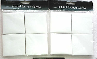2 Packs  of  miniature Mini Cotton Canvas  7 x 7cm  ( 8 x Canvas in Total) BNW