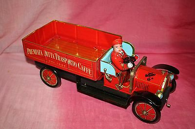 Caffe Vergnano Vintage Style Promotional  Tin Toy Truck  With Driver Figure