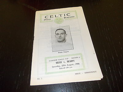 Celtic v Hearts  27th  Aug 1966  Scottish  League Cup