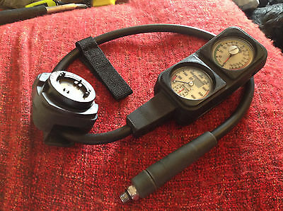 Scuba Diving Triple Gauge Console with built in bottom timer