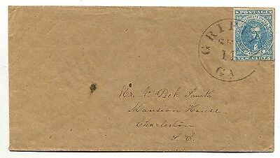 GRIFFIN GA SEP 14 (1862) CSA #2 P 3-margin on cover to Charleston SC BEAUTIFUL!!