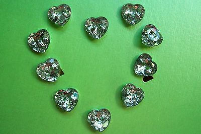 10 new heart-shaped multi-faceted faux diamond buttons / silver back 12mm. diam.