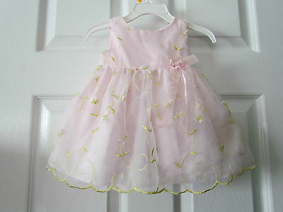 Bonnie Baby Pretty Pink Embroidered Fancy Easter Baby Girl Dress Size 3-6 Months