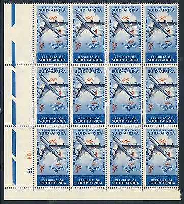 """South Africa 1961 """"Aerial Post Anniversary"""" 3c Control Block (SG 220) (**)"""