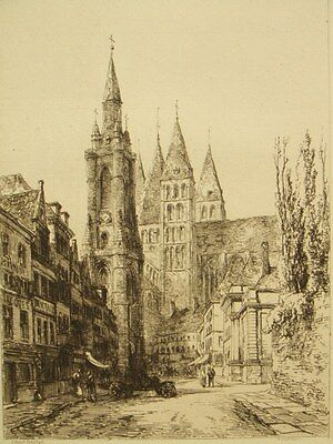 Antique etching; 'Tournai, Belgium' Ernest George, 1877