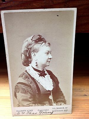 Antique Victorian Carte de Visite of the British Actress Mrs. Charles Young