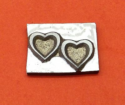 HOT FOIL PRINTING PLATE 8 gauge - Wedding Two Hearts 25 x 17mm #208
