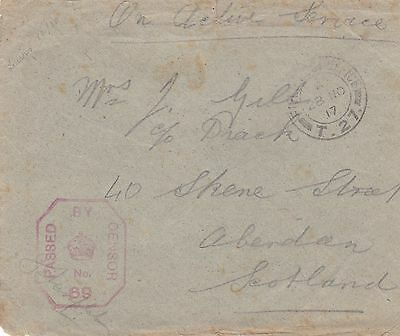 GB WWI 1917 Military Censored Cvr From FPO T.27 to Aberdeen Scotland
