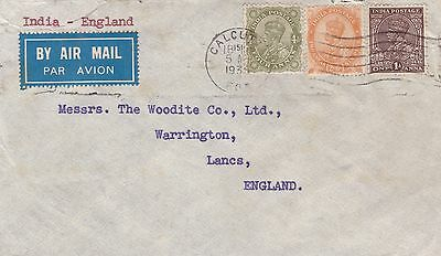 India 1935 Airmail Cover from Calcutta to Warrington UK Rate 7½ Annas