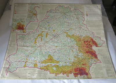 1992 Map Of Belarus Showing Terrain  Of Contaminated Areas