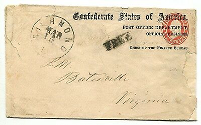 RICHMOND VA MAR 15 1864 FREE Pow TY 6i on POD Official Imprrint cover J Harrell