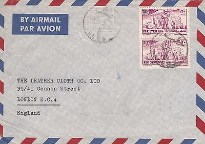Syria 1954 Airmail Cover Aleppo to London UK 40p Rate