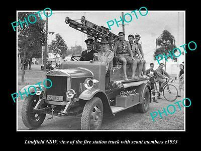 OLD LARGE HISTORIC PHOTO OF LINDFIELD NSW, THE FIRE STATION TRUCK c1935