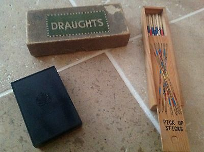 Vintage Games X 3 Pick Sticks Boxed Draught Set Boxed & Anderson Playing  Cards