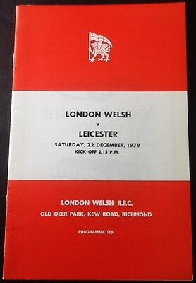 1979 LONDON WELSH v LEICESTER programme