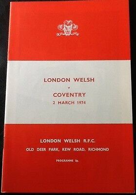 1974 LONDON WELSH v COVENTRY programme