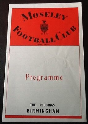 1970 MOSELEY v COVENTRY programme