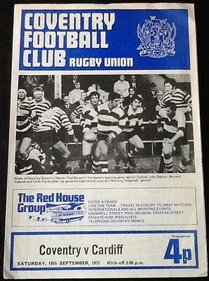1971 COVENTRY v CARDIFF programme
