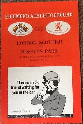 1972 LONDON SCOTTISH v ROSSLYN PARK programme
