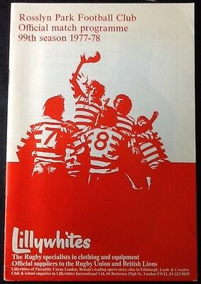 1977 ROSSLYN PARK v COVENTRY programme